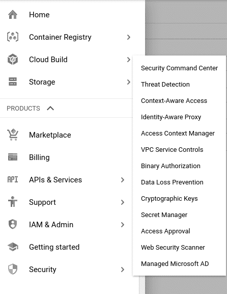 Sidebar menu which shows the cloud build KMS
